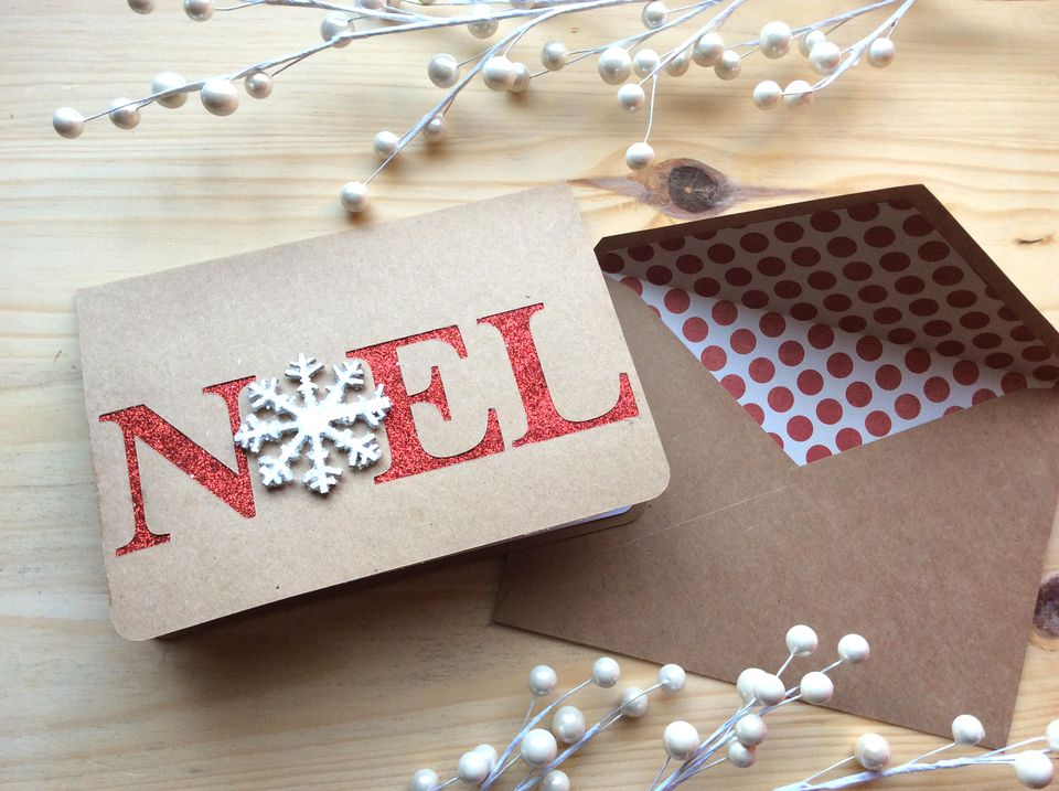 noel kraft paper christmas card
