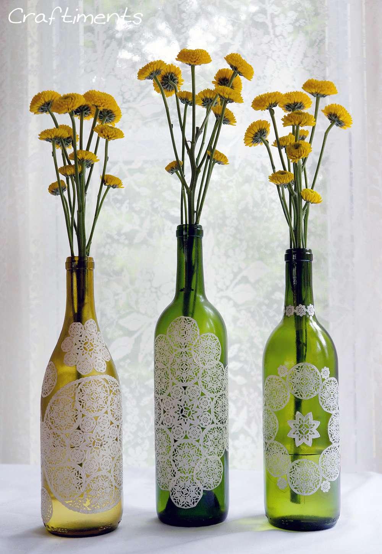 paper doily wine bottlesf