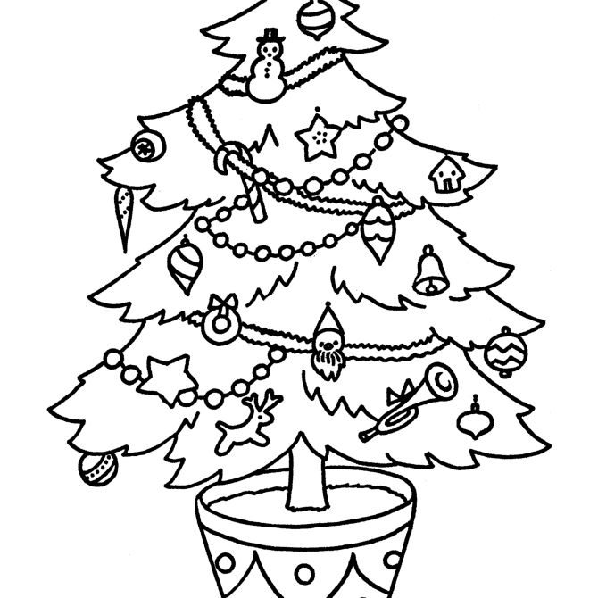 Free Printable Christmas Tree Coloring Pages For Kids | 670x670