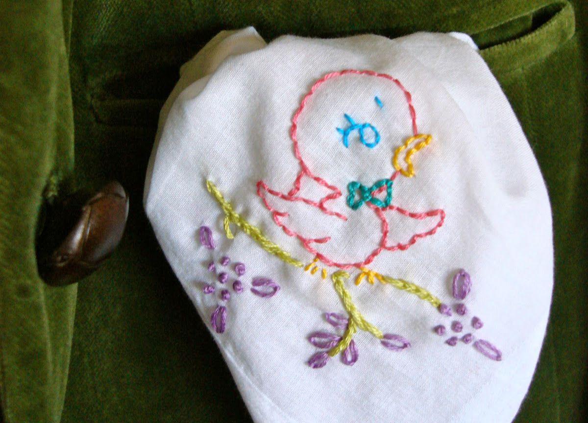 Little Birdie Embroidered Handkerchief Project