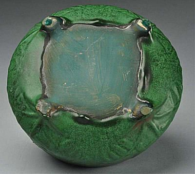 Weller Pottery Blue Base on Bedford Matte Green Urn