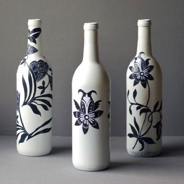 Decoupaged Wine Bottle Inspired By Blue And White Porcelain