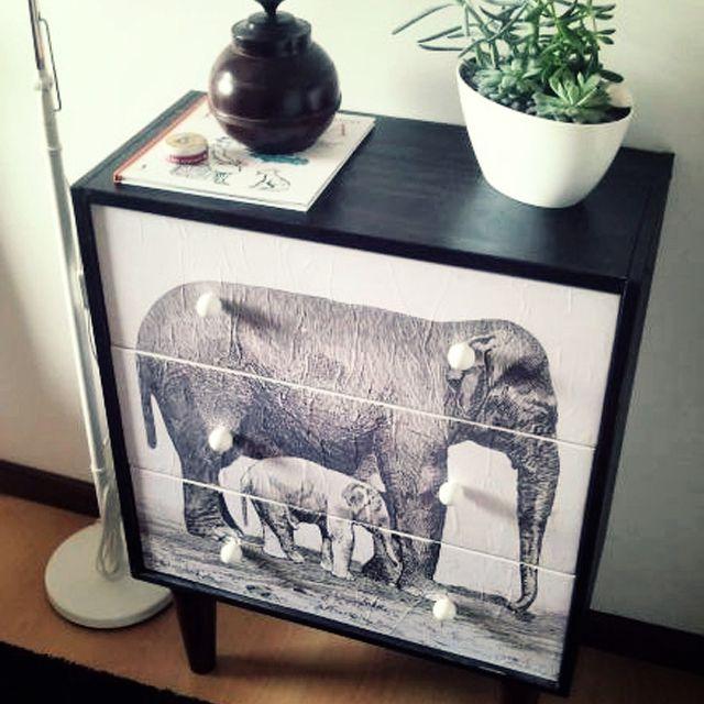 elephant decoupage dresser