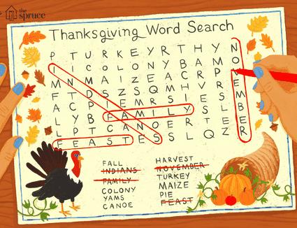 Illustration of Thanksgiving crossword puzzle