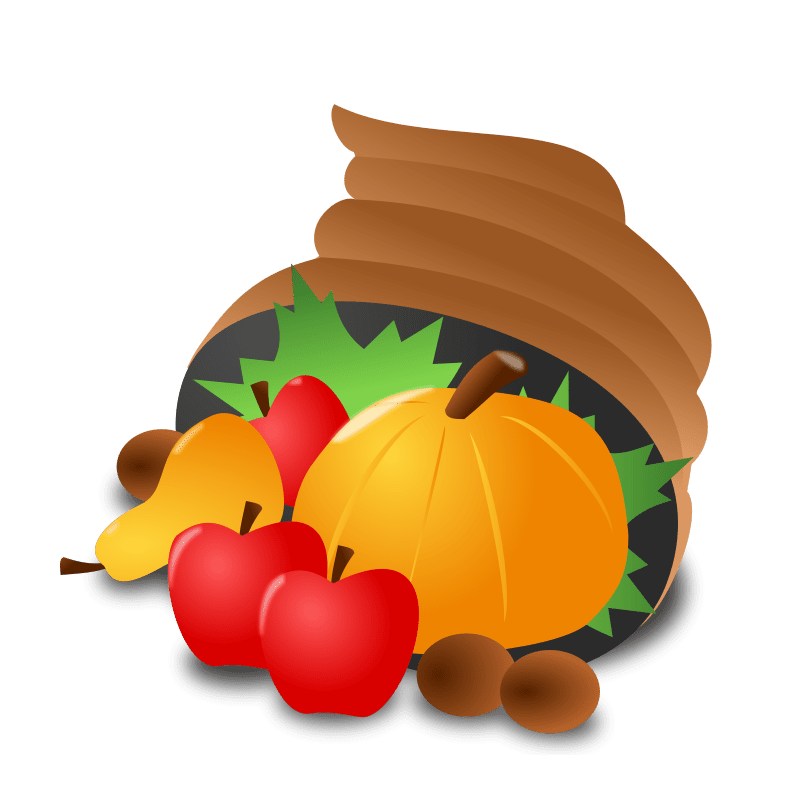 A cornucopia filled with fruits and vegetables