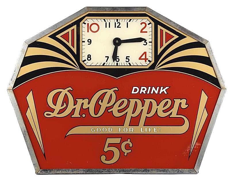 Dr. Pepper Art Deco Advertising Clock