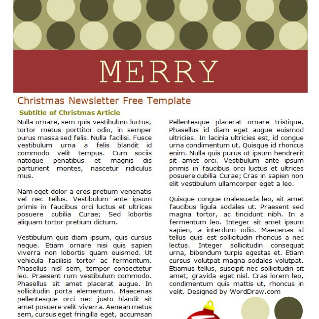 7 free christmas letter templates and ideas a red and green christmas newsletter maxwellsz