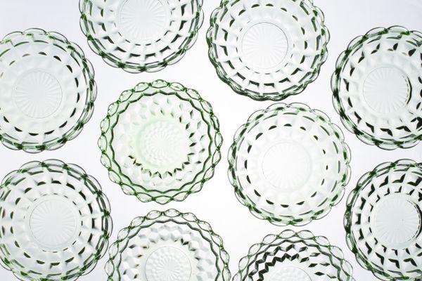 Green Depression glass bowls