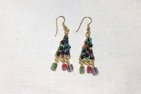 crystal bead christmas tree earrings