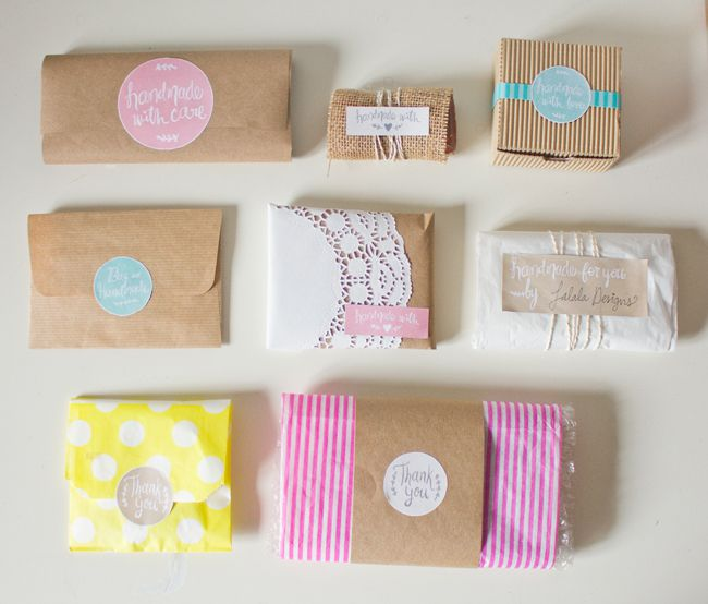 Handmade items with labels