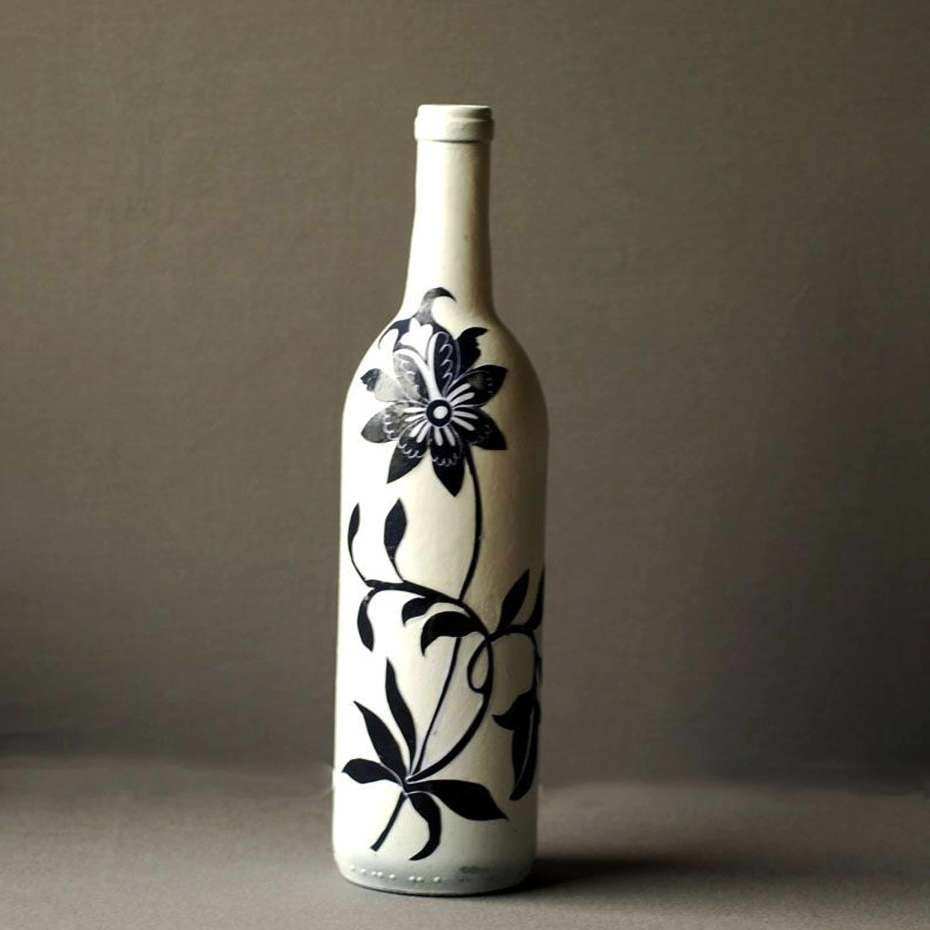 Decoupaged Wine Bottle Inspired By Blue And White Porcelain Simple bottle flat icon design. decoupaged wine bottle inspired by blue