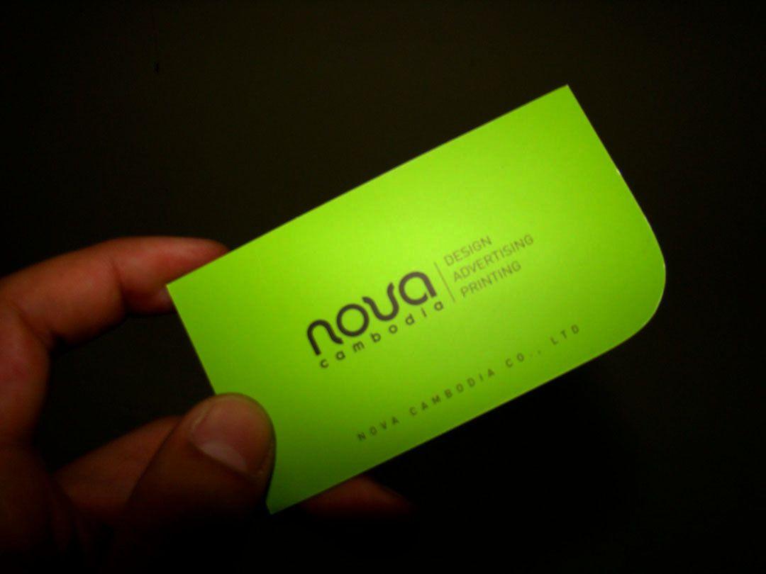 Green round corner business card