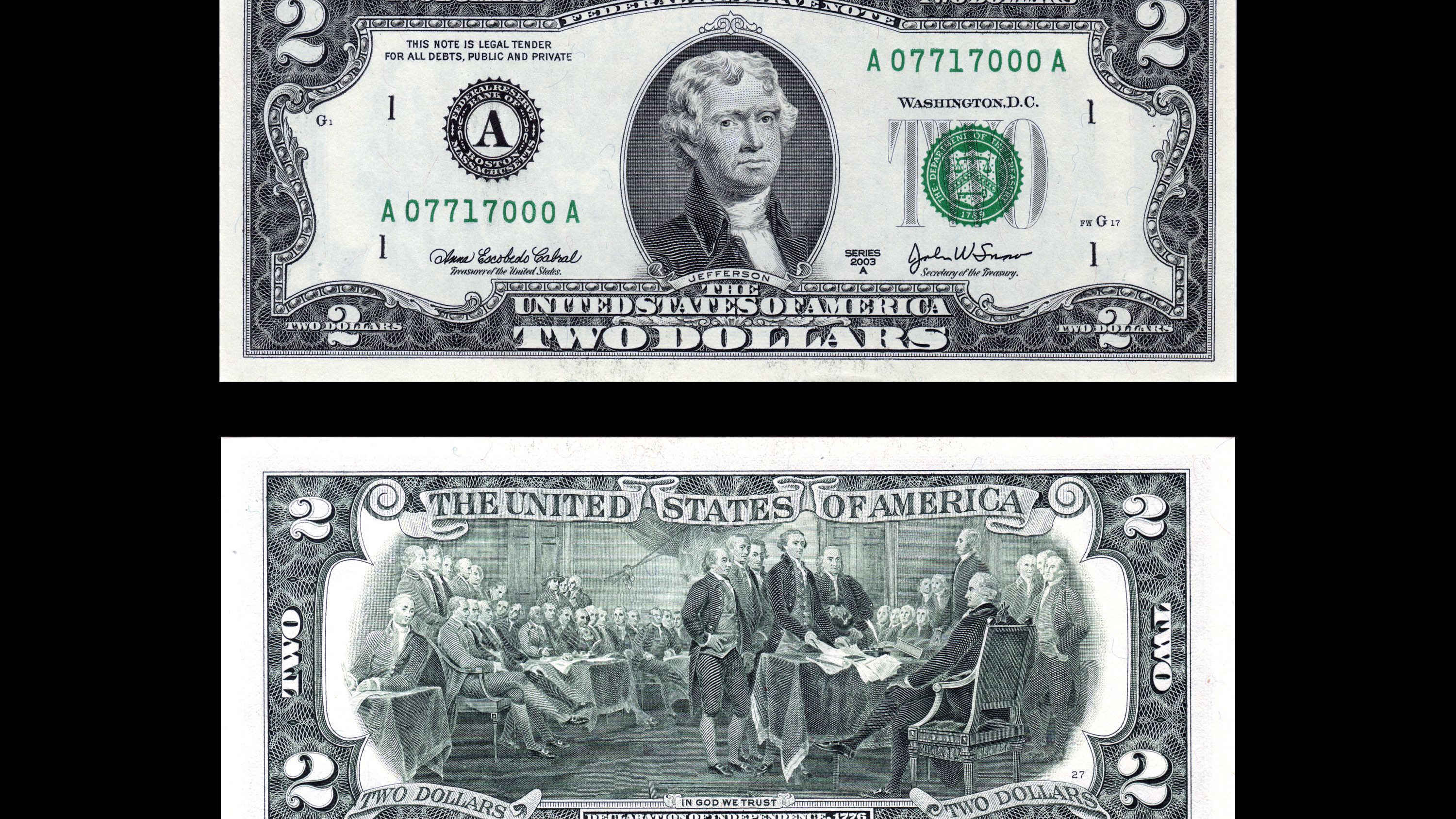 A2 Consecutive Serial Numbers- 1953 $2 United States Note 4