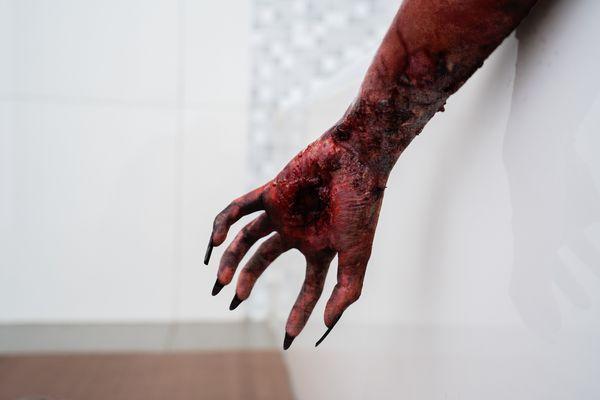 fake blood on an arm