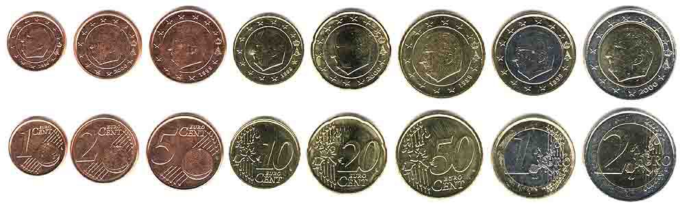 These coins are currently circulating in Belgium as money.