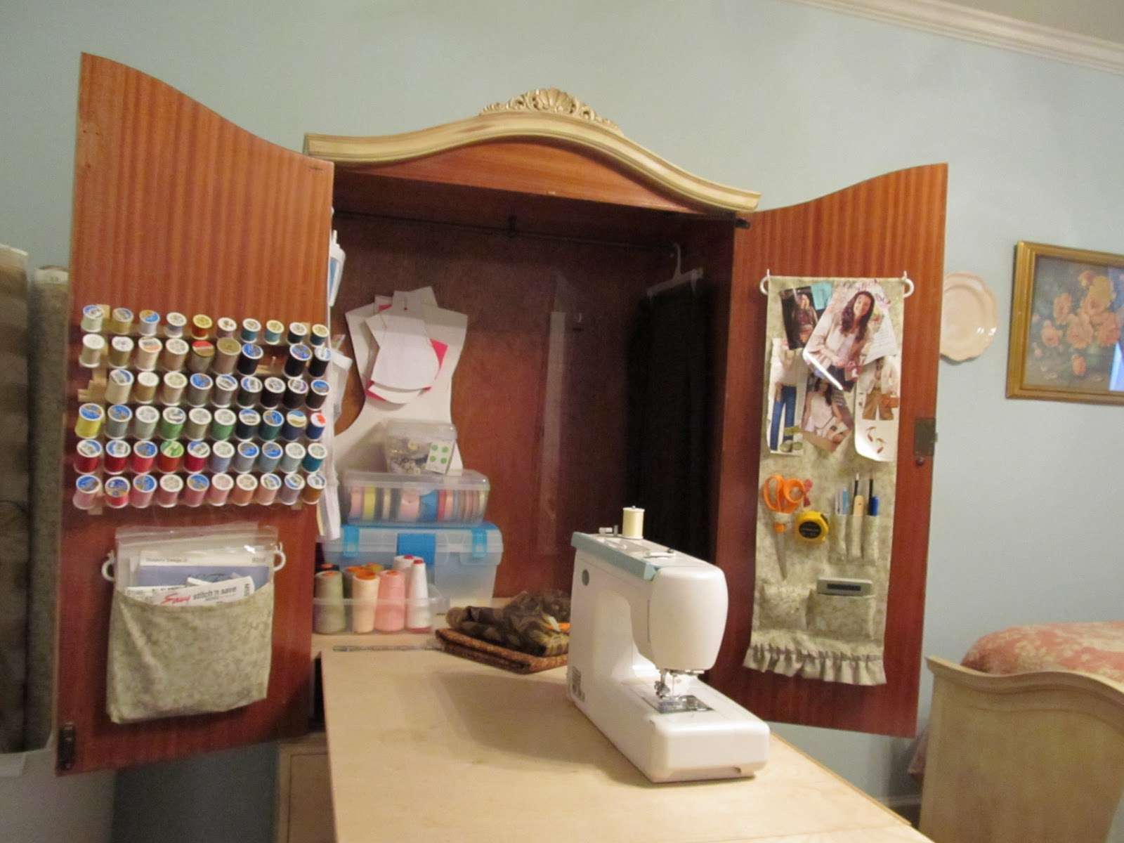 A fold down sewing table in a dresser