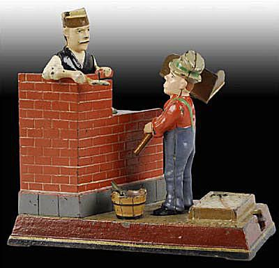 Patented 2/8/1887 Cast Iron Mason Mechanical Bank