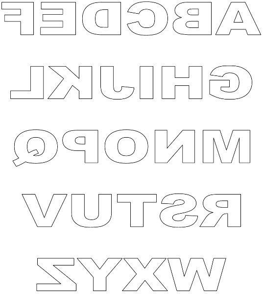 Upper-case reversed block letters