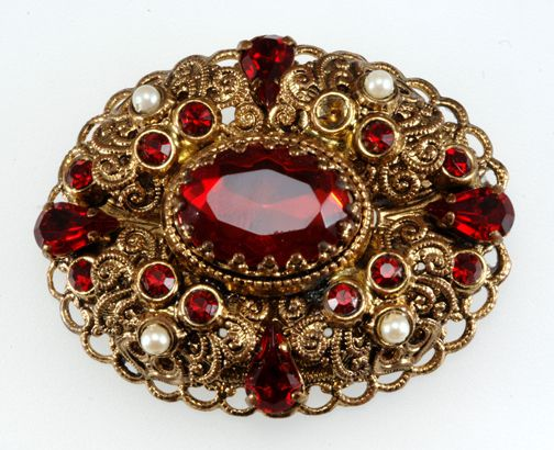 West Germany Red Rhinestone and Pearl Pin