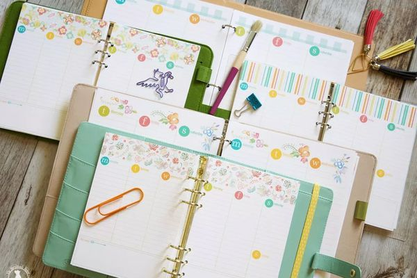 A planner laid out on a table