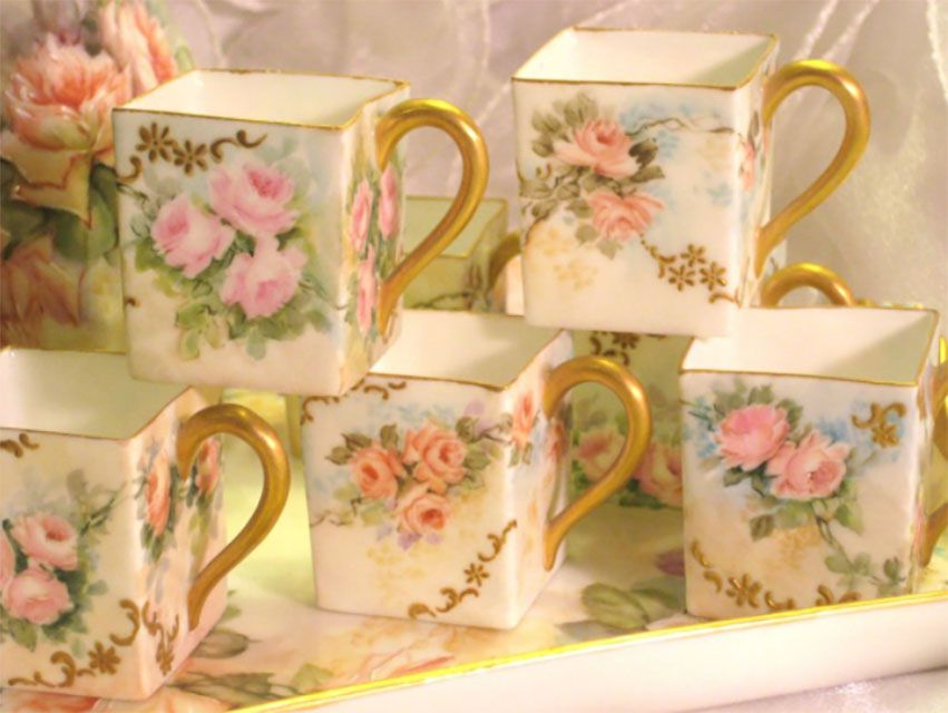 Limoges France Hand Painted Square Cups