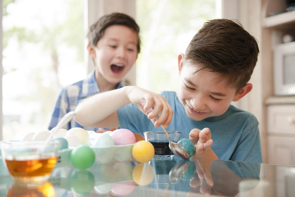 To Children Making Easter Eggs.
