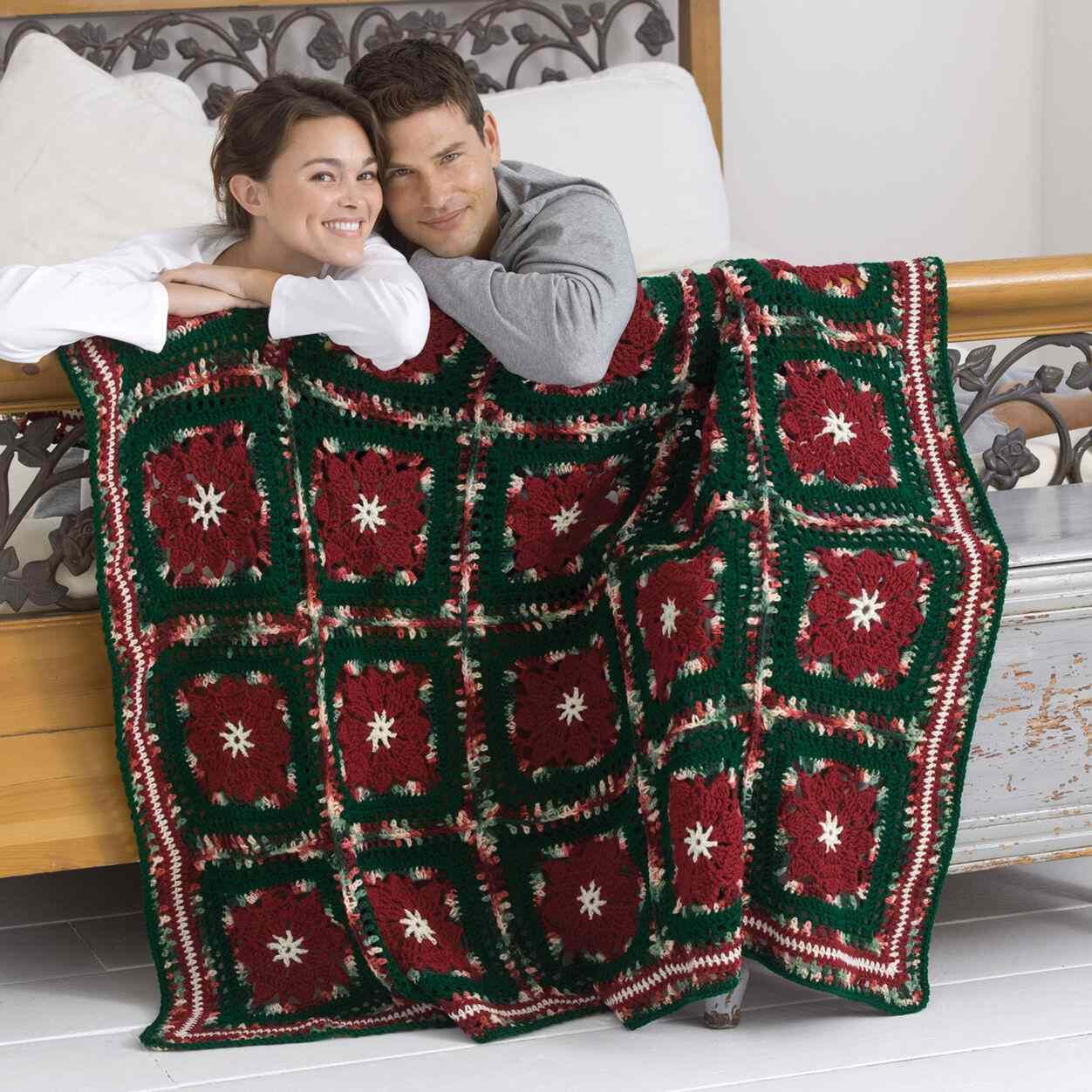 Poinsettia Throw Crochet Pattern