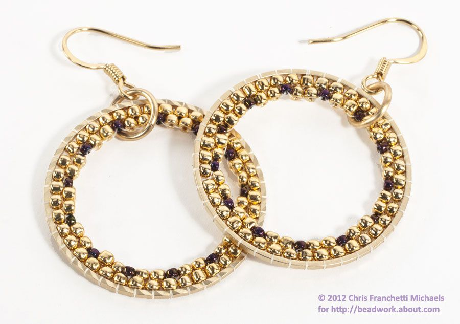 Tutorial Beaded Hoops with Brick Stitch