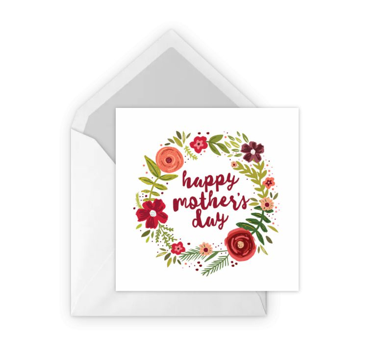 A floral card that says