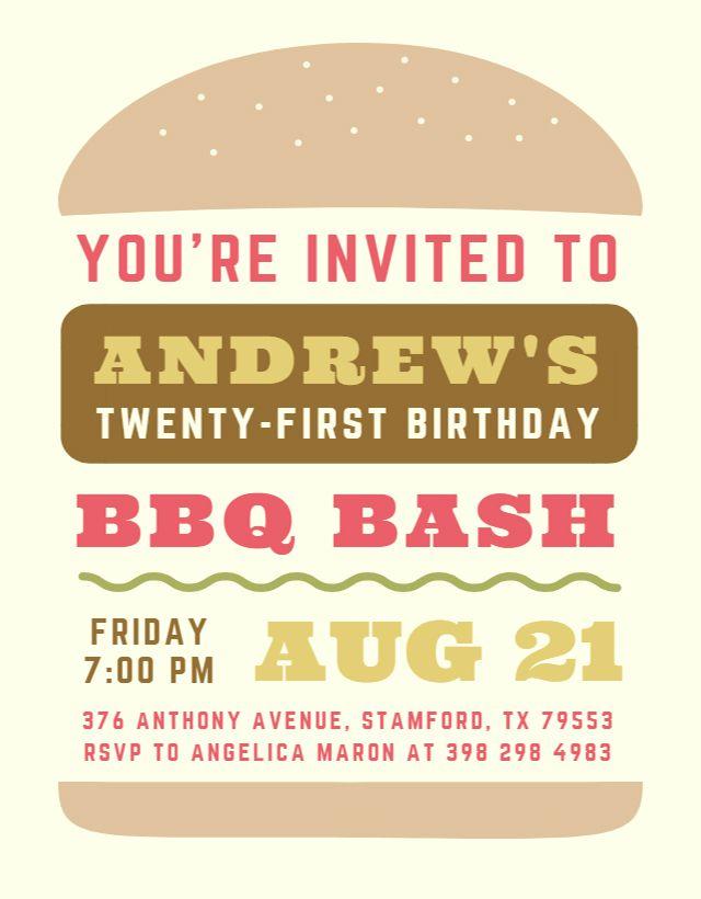A printable birthday invite for a BBQ
