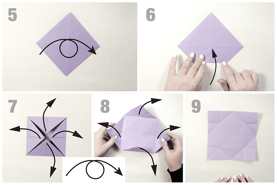 Second set of folds for an origami butterfly