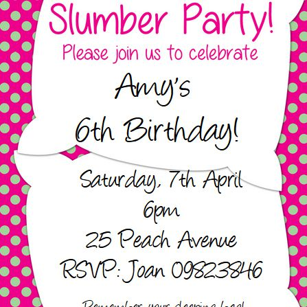 A Picture Of Slumber Party Invitation With Two Pillows And Green Pink Polka Dots