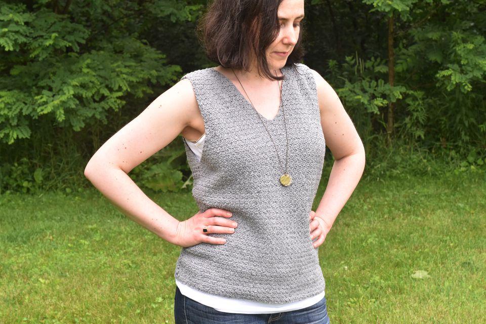 Woman Wearing Lemon Peel Crocheted Tank Top