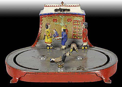 Ca. 1880s Cast Iron Roller Skating Mechanical Bank