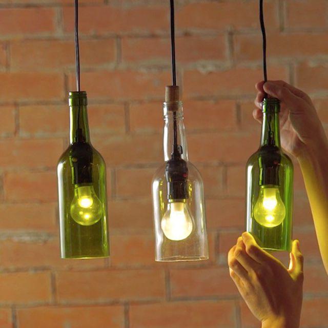 diy wine bottle light idea