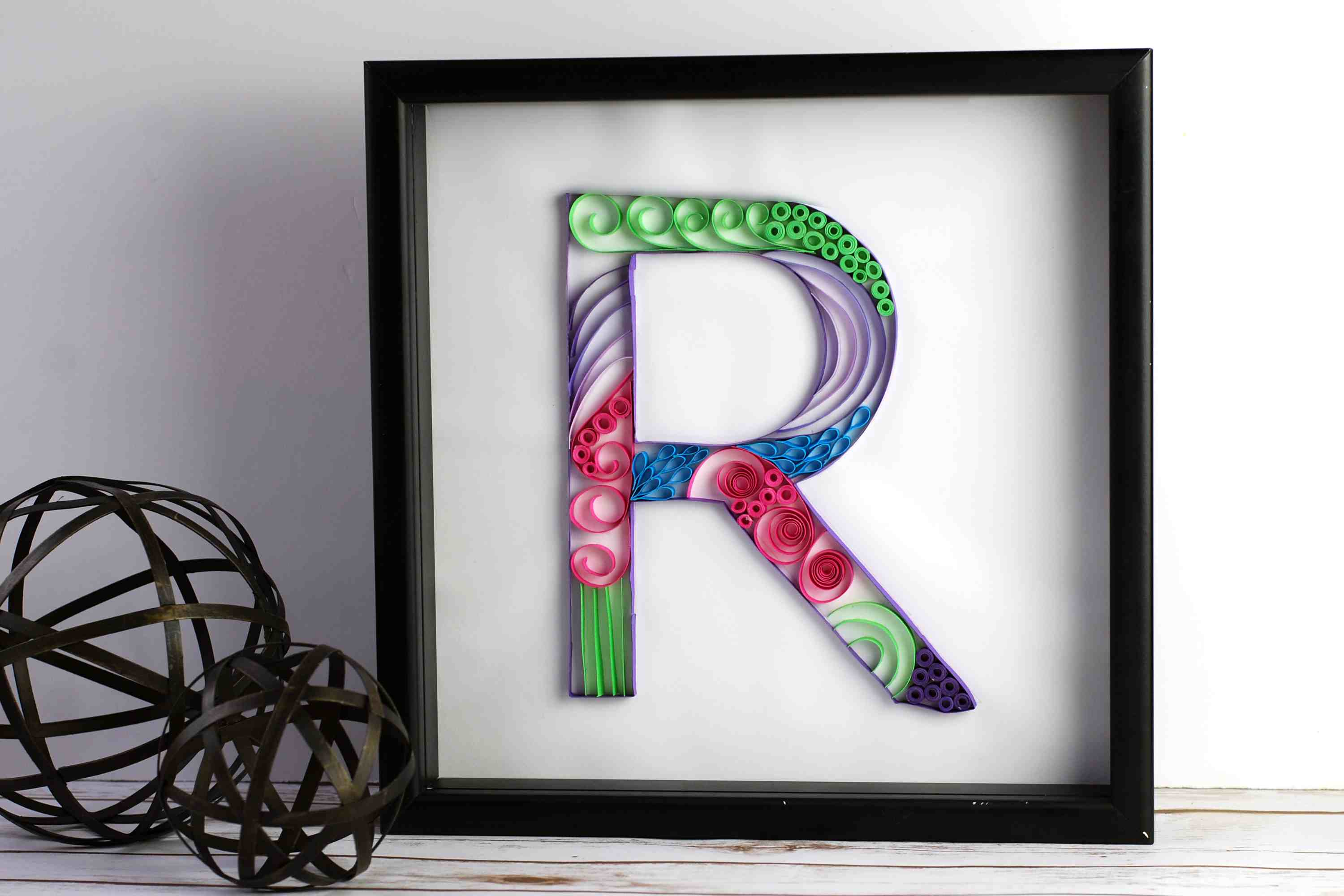 Framed letter R quilled monogram