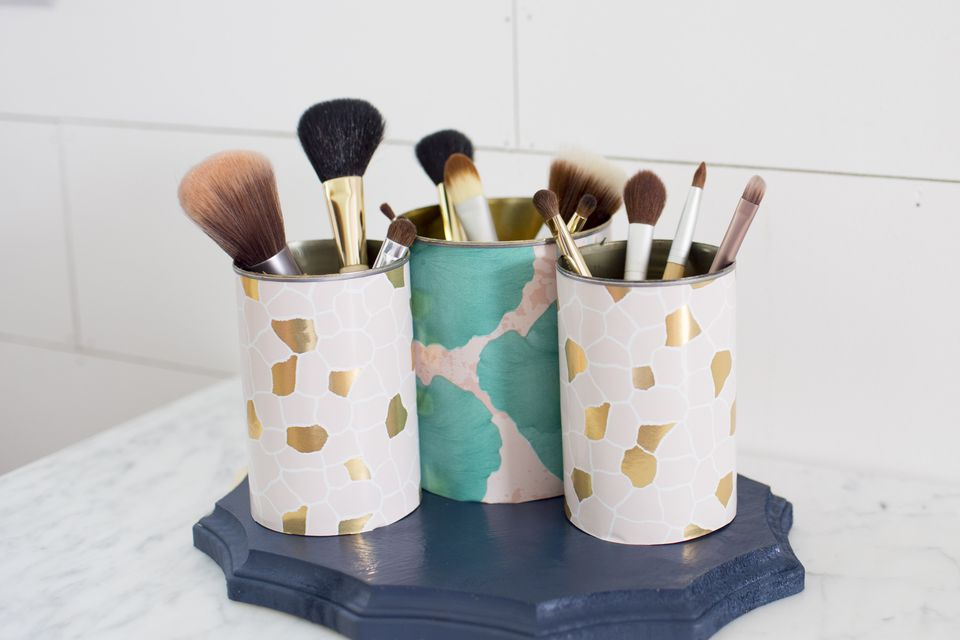 Makeup organizer in use and full of brushes.