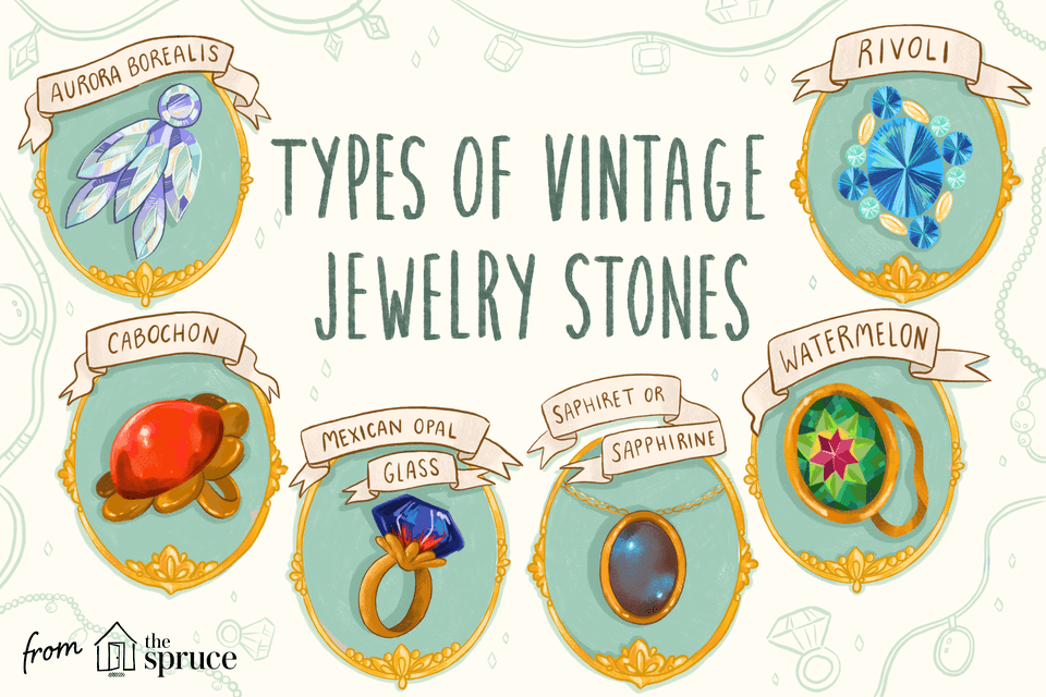 Illustration of vintage jewelry stones
