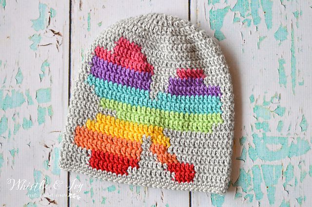 Rainbow Shamrock Slouch Hat Free Crochet Pattern