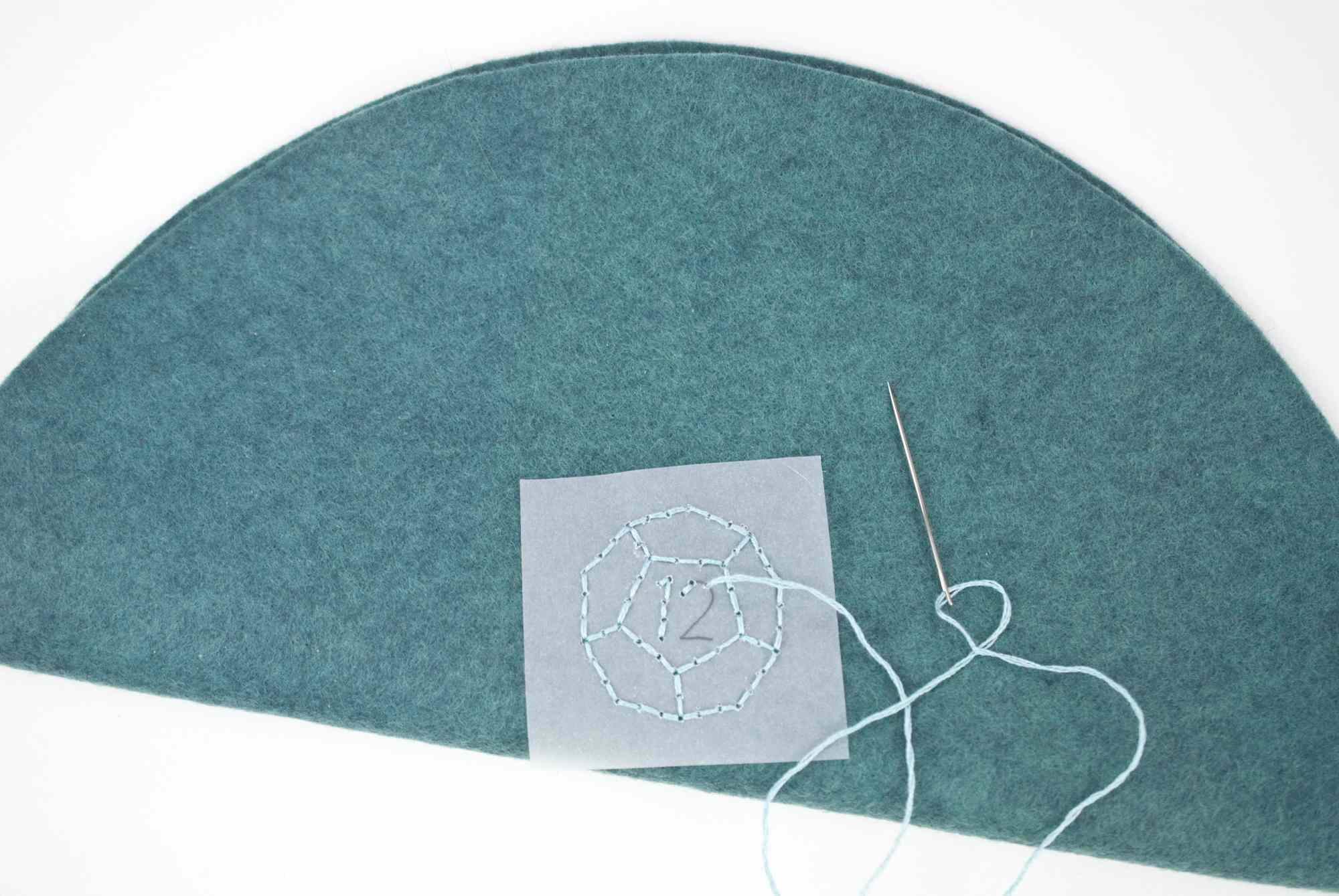 Embroider a Die on the Felt Circle