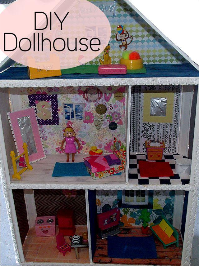 The inside of a DIY dollhouse