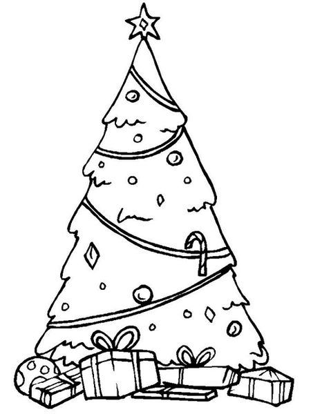 A Christmas Tree With Gifts Underneath It ChristmasColoring Has Free Coloring Pages