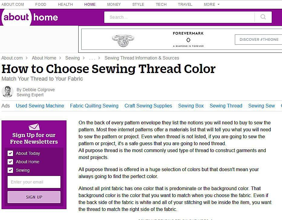 Coats and Clark Sewing Thread Color Chart