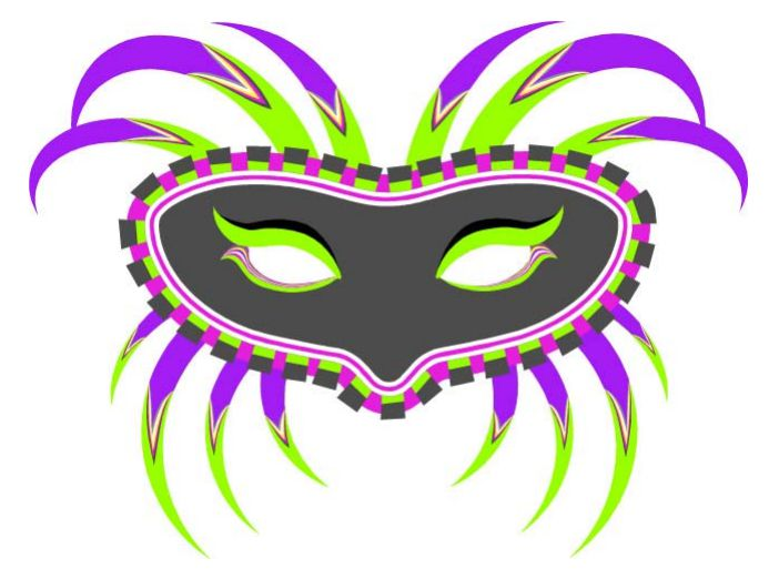 A printable Mardi Gras mask in gray, purple, yellow, green, and pink.