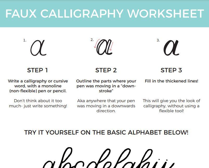 A faux calligraphy alphabet worksheet