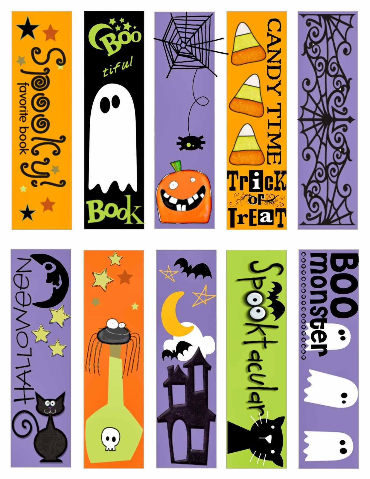 A Sheet of Printable Halloween Bookmarks