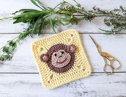 Crochet Monkey Granny Square Pattern