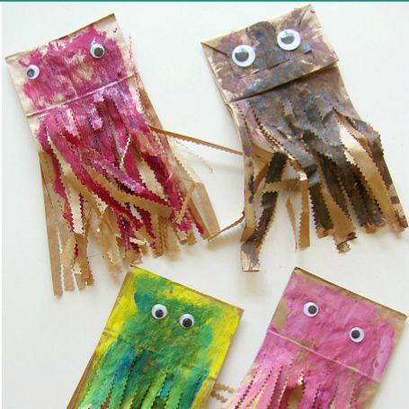 Paper bag jellyfish craft