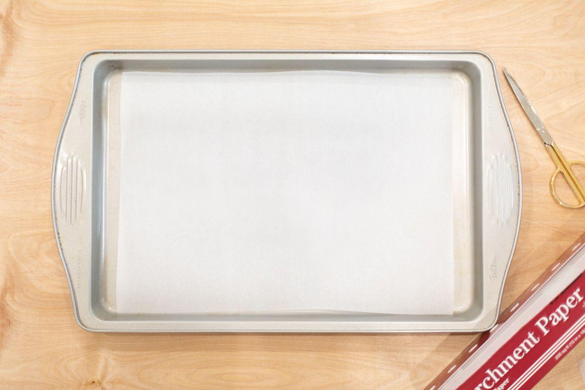 Baking sheets prepped to make reusable food wraps