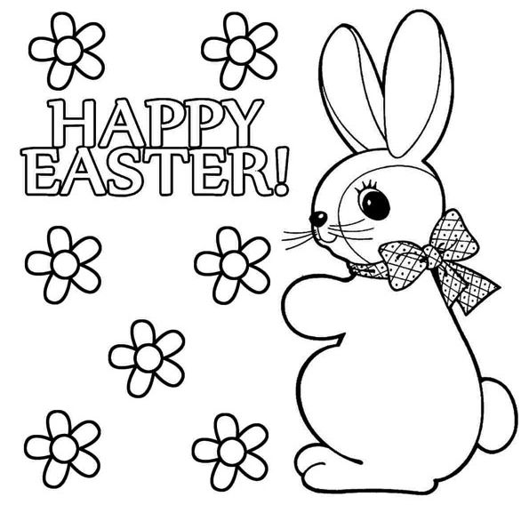 "The phrase ""Happy Easter"" with flowers and an Easter bunny"